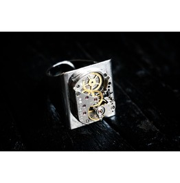 Steampunk Bdsm Men's Jeweled Rubies Ring Soviet Vintage Birthday Gift Man