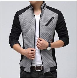 Mens Navy/Gray Zip Up Casual Jackets