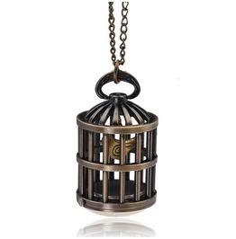 Retro Birdcage Bronze Quartz Pocket Watch Pendant Necklace