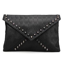 Gothic Black Studded Skulls Print Clutch Handbag