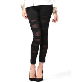 Sheer See Black Bandage Stretchy Tights