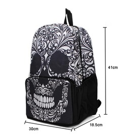Black Gothic Grinning Skull Printed Backpack