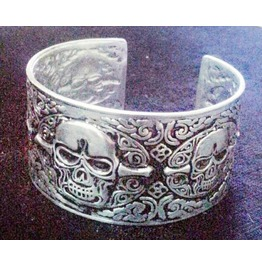 Gothic Stainless Steel Punk Skull Cuff Bangle Bracelets Silver Color Men 1