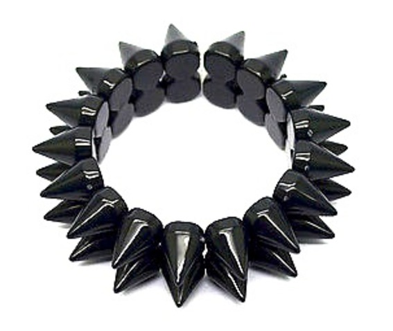 striking_plastic_elasticated_bracelet_two_rows_cone_shaped_spikes_bracelets_2.jpg