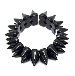 Striking Plastic Elasticated Bracelet Two Rows Cone Shaped Spikes