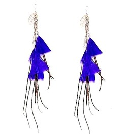 Unique Long Blue Feather Design Earrings Metal Silver Leafs