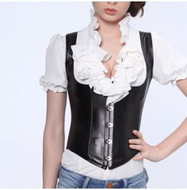 Women's Halter Faux Leather Buckle Up Overbust Corset With G String M3131