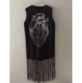 Art Punk Hippie Batwing Tussle Fringes Stone Wash Poncho Dress