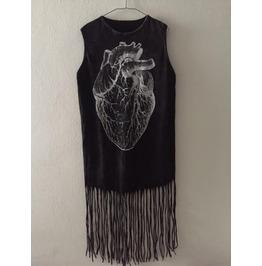 Art Punk Hippie Batwing Tussle Fringes Stone Wash Poncho Dress