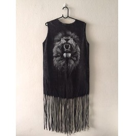 Lion Animal Punk Hippie Batwing Tussle Fringes Stone Wash Poncho Dress
