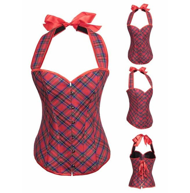 Women s Halter Red Plaid Overbust Corset With G String  5164b3e0151c