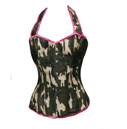 Women's Camouflage Halter Corset With G String M3158
