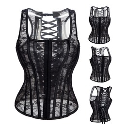 Women's Sheer Lace Overbust Corsets Wedding Dress Corsets With Thong M3186