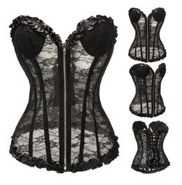Women's Sheer Lace Overbust Corsets Wedding Dress Corsets With Thong M3188