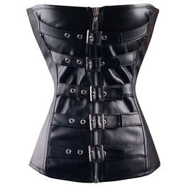 081c4ba567 Women s Steampunk Faux Leather Buckle Up Corsets With Thong M3192