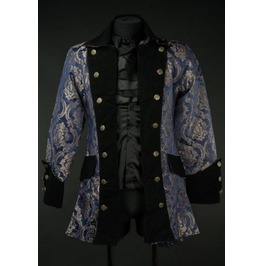 Blue Royal Silver Brocade Goth Vampire Victorian Pirate Jacket