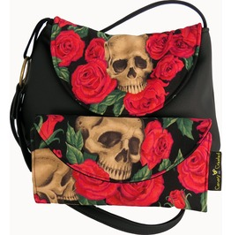 Skull Bed Roses Cross Body Kelsi Purse With Wallet