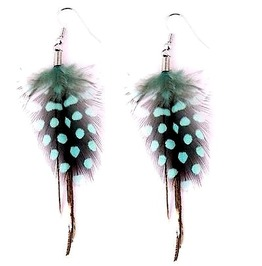 Unique Turquoise Blue + Black Feather Design Earrings
