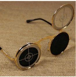 Steampunk flip up bullseye target sunglasses sunglasses