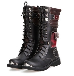Red black pocketed punk gothic army boots boots 6