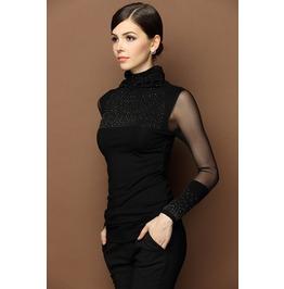 Womens Turtleneck Long Sleeve Black Top T Shirt