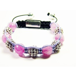 Pink Agate Natural Stone Disco Ball Shambhalla Bracelet