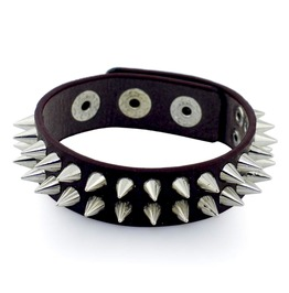 Rock Strong Brown Leather Wristband Two Rows Of Studded Spikes