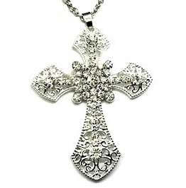 Awesome Large Silver Metal Crucifix Pendant With Clear Crystals