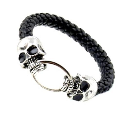 awesome_silver_metal_skull_bangle_black_leather_look_plaited_strap_bracelets_2.jpg