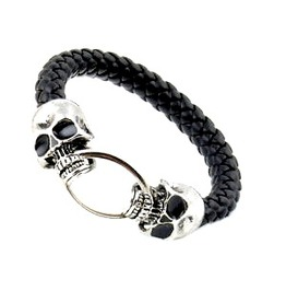Awesome Silver Metal Skull Bangle Black Leather Look Plaited Strap