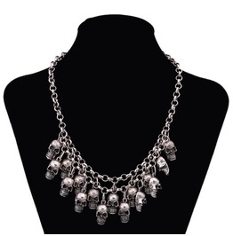 Silver/Gold Skulls Statement Pendant Necklace Skull/Goth Necklace Jewelry