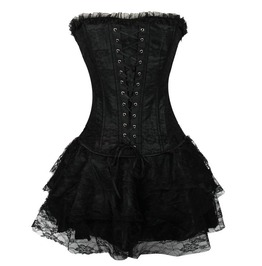 Goth/Steampunk Lace Waist Training Overbust Corset Included Skirt
