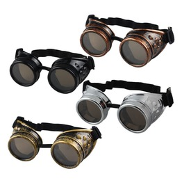 Black/White/Red/Yellow Unisex Steampunk Victorian Vintage Looking Goggles