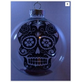 Dia Del Los Muertos Sugar Skull Floating Glass Ornament 100mm (Approx 4in)