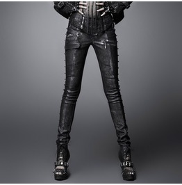 Women's Punk Rivets Faux Leather Skinny Pants With Belt K 170