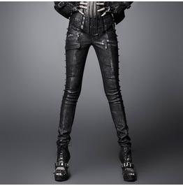 Women's Punk Rivets Faux Leather Skinny Pants With Belt Black K 17