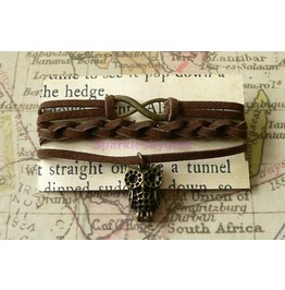 Brown Suede Wrap Bracelet With Owl Charm