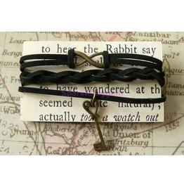 Black Suede Wrap Bracelet With Key Charm