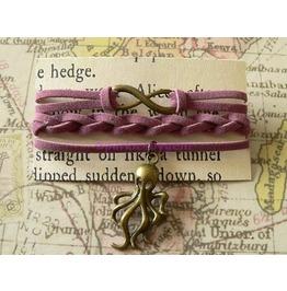 Mauve Suede Wrap Bracelet With Cthulhu Charm