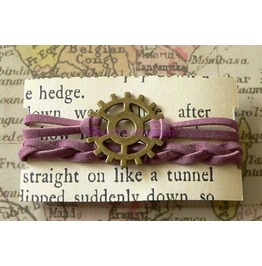 Mauve Suede Wrap Bracelet With Cog