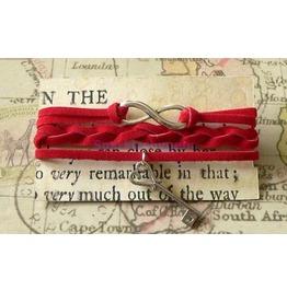 Red Suede Wrap Bracelet With Key Charm