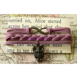 Mauve Suede Wrap Bracelet With Owl Charm