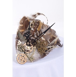 Rq Bl Steampunk Accessories Copper Wheel Feather Fascinator Sp045