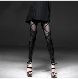 Punk Rave Black Sheer Lace Floral Faux Leather Leggings B186