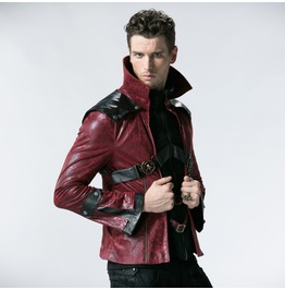 Punk Rave Fashion Red Chinchilla Men Gothic Leather Coat B254