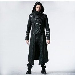 Punk Rave Gothic Black Stretch Twill Fabric Chef Faux Leather Coat Y364