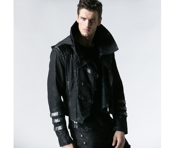 gothic_black_stretch_twill_fabric_chef_faux_leather_coat_coats_6.jpg
