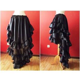 Black Ruffles Satin Skirt, Gothic ,Lolita , Steampunk Styles