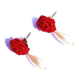 Vintage Glam 80's New Red Rose Pearl Teardrop Earrings