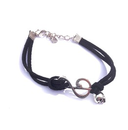 Cool Music Note Skull Silver Metal Feature On Black Chord Bracelet